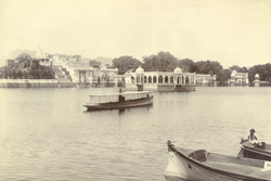 The Mohanmandir (water-palace) and the Lake, Udaipur. From the east